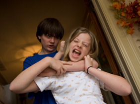 Two siblings get into a fight in their home in Lincoln, NE.